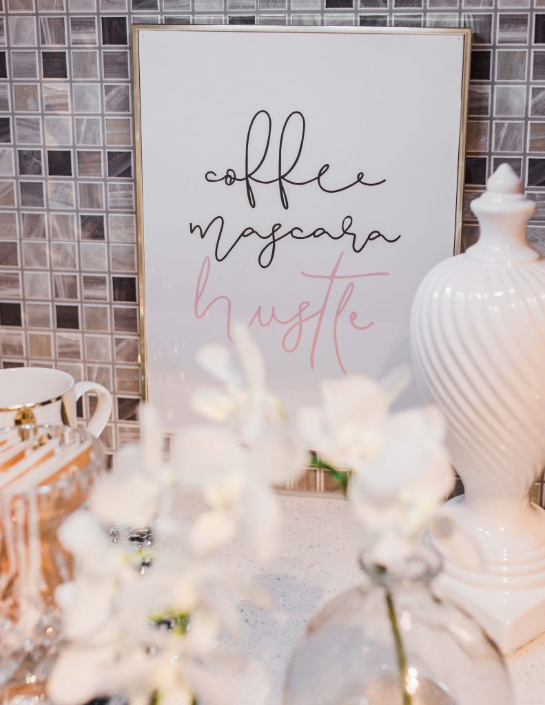 Coffee stations can be such a fun space to decorate. I have a few simple ideas to add a coffee station to your kitchen. Whether you have a large kitchen or a small cart you can achieve a fun glam coffee station using my simple design principles. These principals can be used with any design style, glam, farmhouse style, or rustic. Lisa Herland Designs.